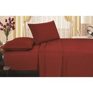 Alcott Hill Leddy Soft Touch Vine Embossed Microfiber Sheet Set