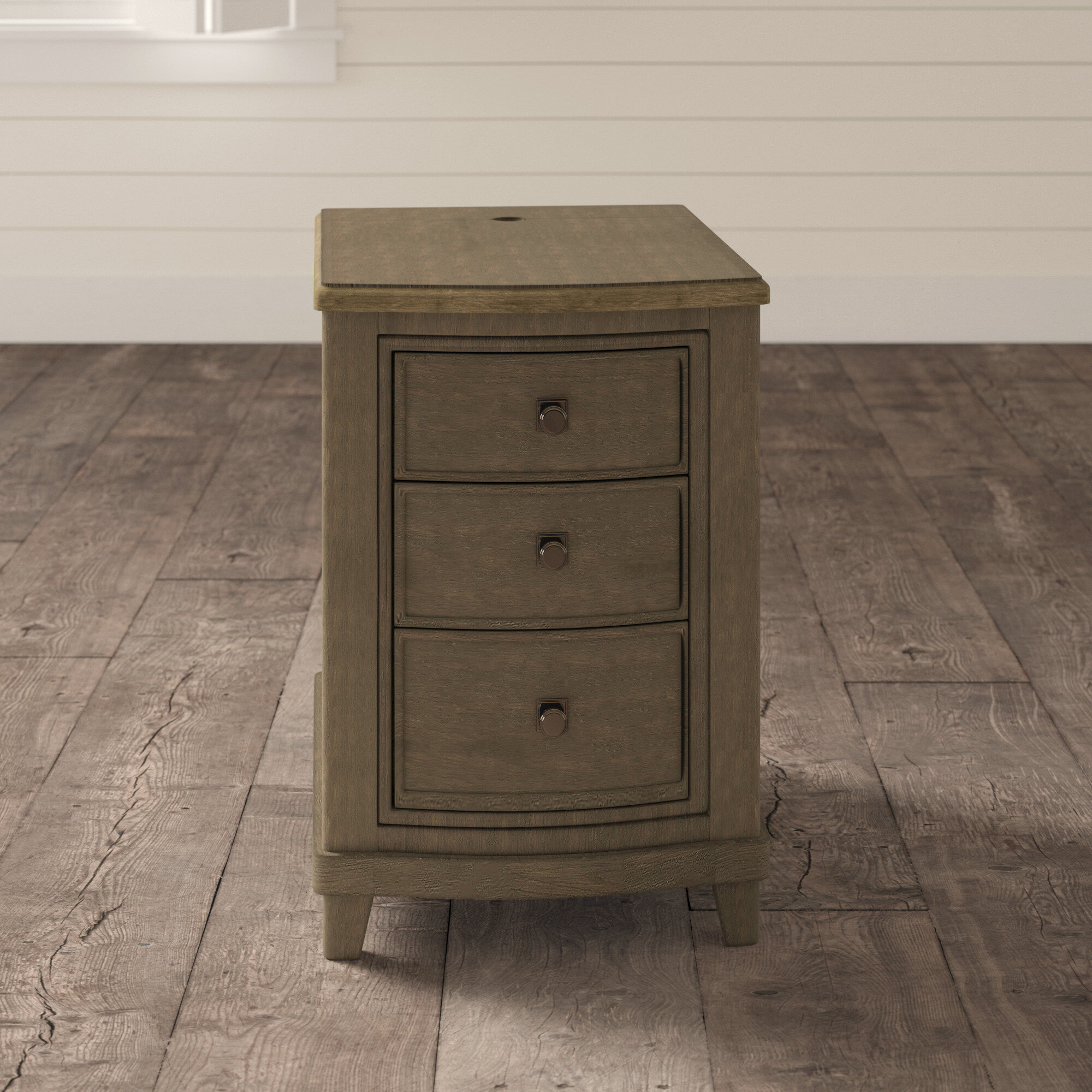Solid Wood 3 Drawer End Table Birch Lane