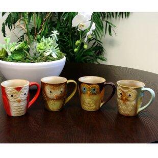 Bamard Owl 4 Piece Coffee Mug Set