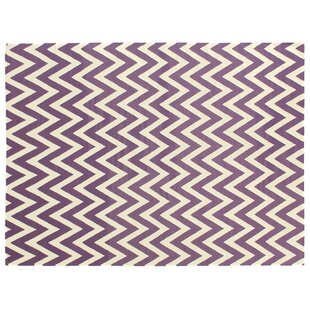 Flat woven Wool Electric Purple/White Area Rug By Exquisite Rugs