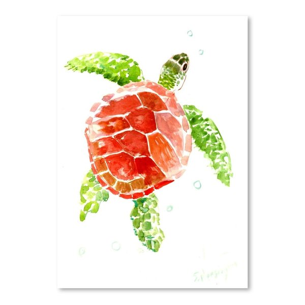 Sea Turtle Red-Green Painting Print - Green Wall Decor