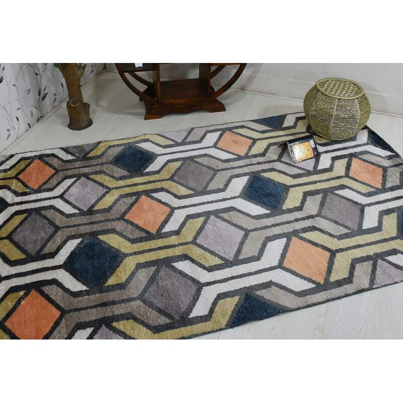 George Oliver Patchway Geometric Hand Knotted Gray Area Rug Wayfair