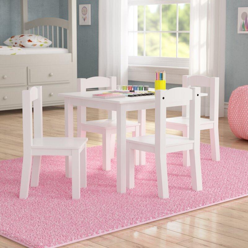 Harriet Bee Balcom Wood Kids 5 Piece Rectangular Table And