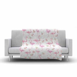 Read Reviews Stephanie Vaeth Flamingos Painting Fleece Blanket ByEast Urban Home