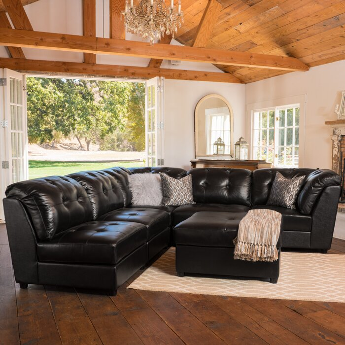 Remarkable Mccomas Leather Reversible Sectional With Ottoman Creativecarmelina Interior Chair Design Creativecarmelinacom