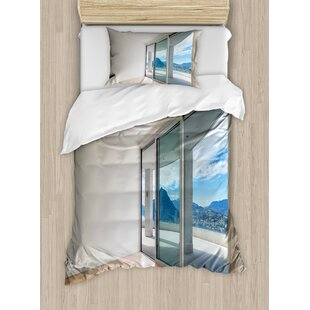 Modern Penthouse Room with Wide Terrace Sliding Door Parquet Mountains Idyllic Duvet Set by Ambesonne