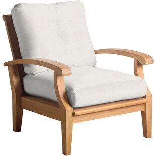 Lowery Teak Patio Chair With Sunbrella Cushions by Rosecliff Heights Design