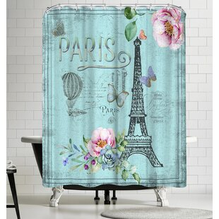 Grab My Art Vintage Typography Paris And Eiffeltower Single Shower Curtain