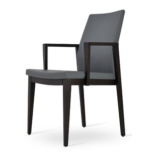 sohoConcept Pasha Wood Genuine Leather Upholstered Dining Chair