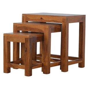 Raisa Solid Sheesham Wood 3 Piece Nest Of Tables