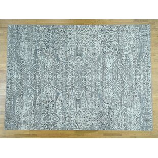 Affordable Price One-of-a-Kind Bearer Undyed Hand-Knotted 8'2 x 10'5 Wool Gray/White Area Rug By Isabelline