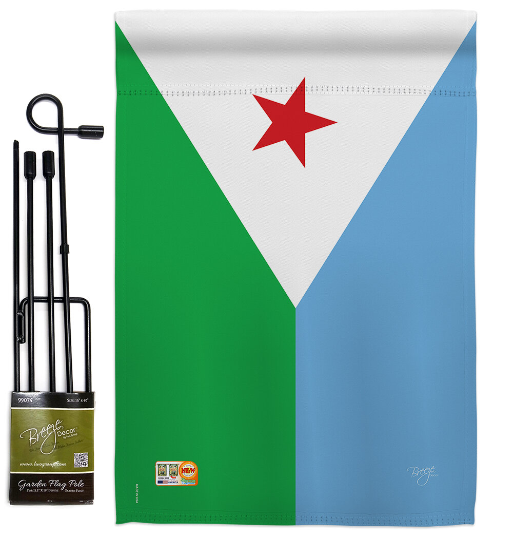 Breeze Decor Djibouti 2 Sided Polyester 18 5 X 13 In Flag Set Wayfair