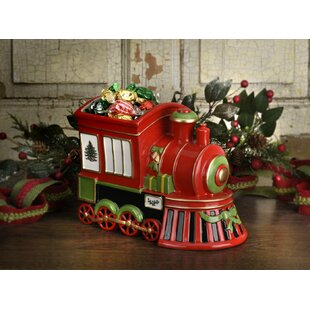 Christmas Tree Train Engine Cookie Jar