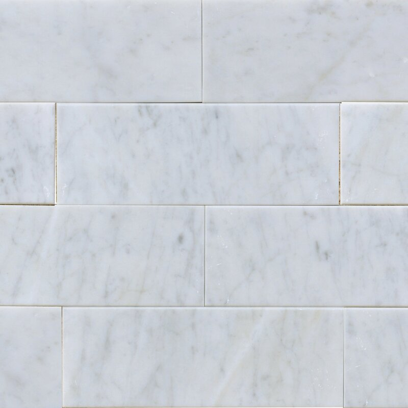 "3"" x 8"" Marble Subway Tile in White Carrara"
