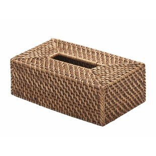 Beachcrest Home Holly Rectangular Rattan Tissue Box Cover