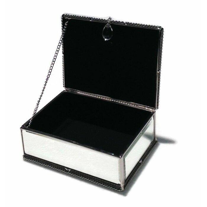 Modern Sleek Jewellery Box Rose Gold Silver Mirrored Soft Velvet Foam Pads New
