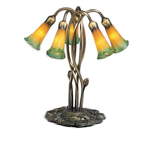 5-Light Amber / Green Pond Lily Accent Table Lamp