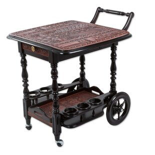 World Menagerie Rishaan Inca Party Leather and Wood Bar Cart