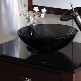 Nera Glass Circular Vessel Bathroom Sink Novatto