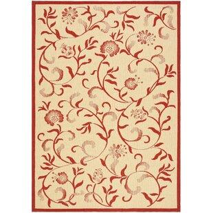 Swirling Garden Creme / Red Area Rug byMartha Stewart Rugs