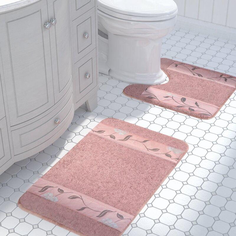 August Grove Airlia Non Slip Floral Piece Bath Rug Set Reviews Wayfair