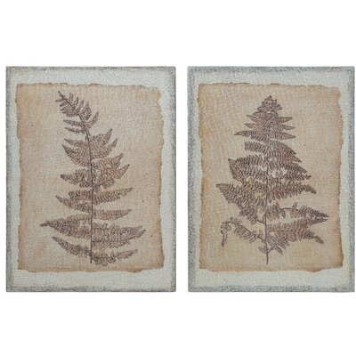 'Fern on Burlap and Wood' 2 Piece Framed Set on Wood Union Rustic