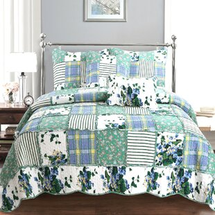 Lambermont Floral Patchwork Cotton Quilt Set by August Grove Cheap