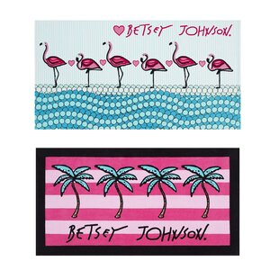 Flamingo Ocean 2 Piece 100% Cotton Beach Towel Set