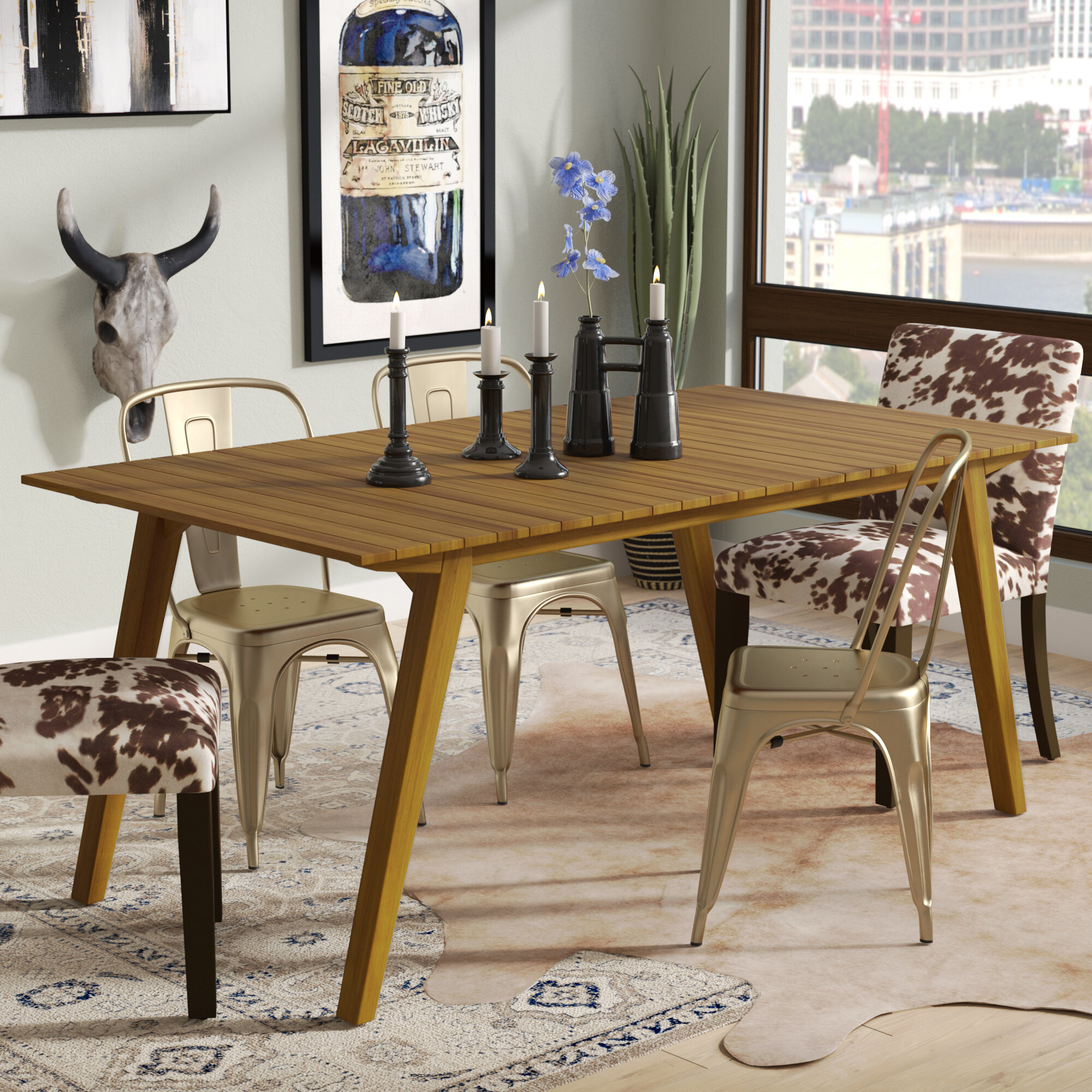 Charmant Lindo Rustic Wood Dining Table
