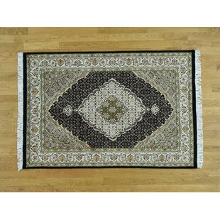 One-of-a-Kind Beaton Pak Handwoven Black Wool/Silk Area Rug Isabelline