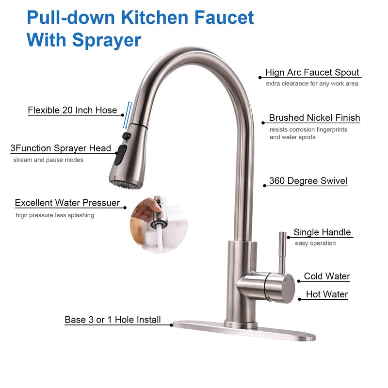 Ruiling Pull Down Single Handle Kitchen Faucet With 3 Function Spray Head Reviews