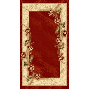 Barrymore Red/Beige Rug by Charlton Home
