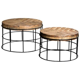 Kashvi 2 Piece Wooden Iron End Table by Union Rustic
