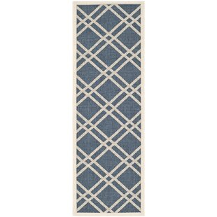 Short Ivory/Blue Indoor/Outdoor Area Rug