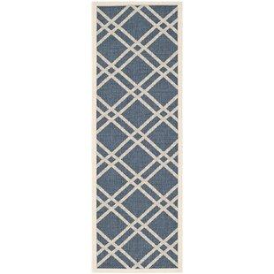 Short Ivory/Blue Indoor/Outdoor Area Rug