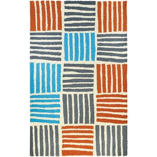 Kia Stripe Hand-Hooked Teal/Orange/Gray Indoor/Outdoor Area Rug