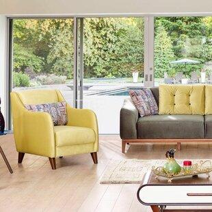 Brayden Studio Danos Modern Velvet Wingback Chair