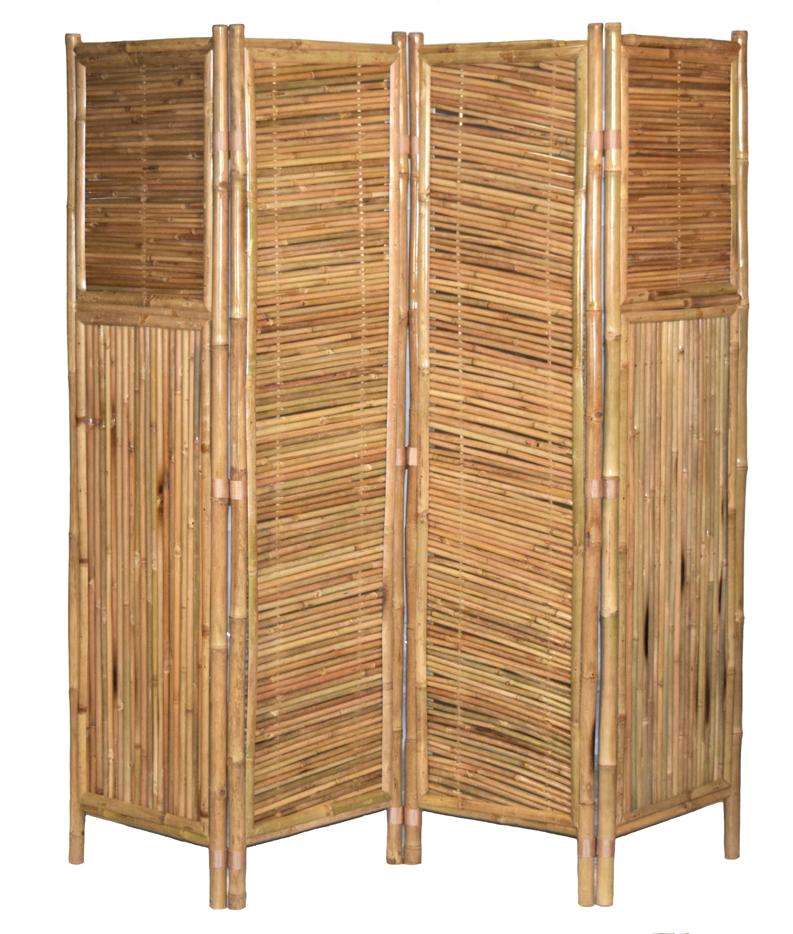 Screens Room Dividers New Bamboo 3 Panel Asian Organic Wood Screen Room Divider Indoor Outdoor 63 X48 Home Garden Hotepconsultants Com