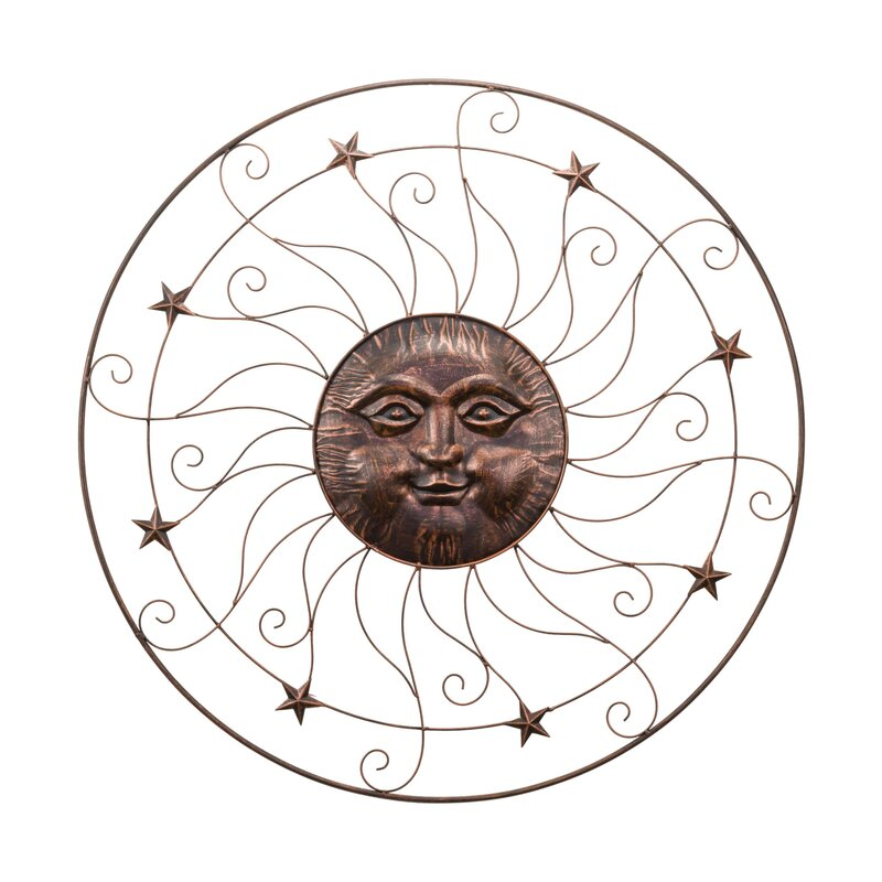 Good Wrought Iron Sun And Stars Round Wall Décor