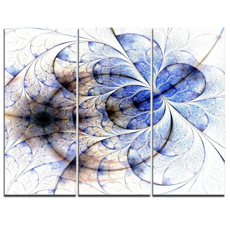 Designart Symmetrical Gold Blue Fractal Flower 3 Piece Graphic Art On Wrapped Canvas Set Wayfair