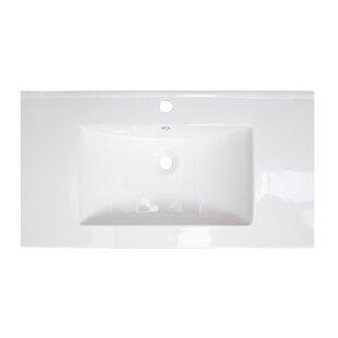 American Imaginations Flair Ceramic Rectangular Drop-In Bathroom Sink with Overflow