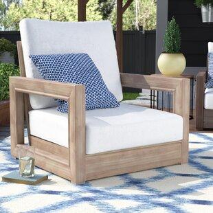 Brayden Studio Constance Teak Outdoor Patio Furniture Club Chair with Cushions