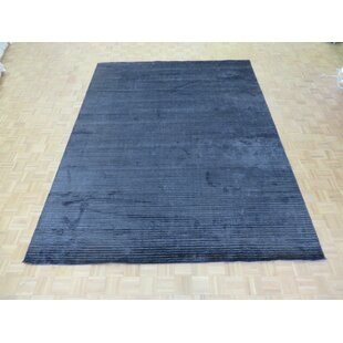 Great Price One-of-a-Kind Dotson Hand-Knotted 9'2 x 12' Black Area Rug By Isabelline
