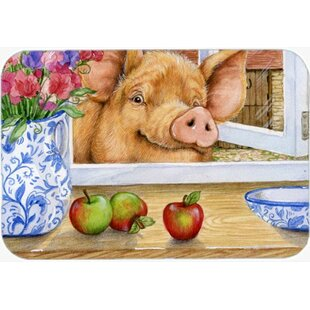 Pig Reaching for Apple in Window Glass Cutting Board