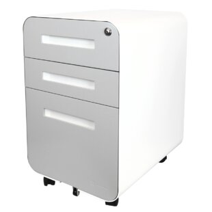 Elsa Glide 3-Drawer Mobile Vertical Filing Cabinet by Rebrilliant Find