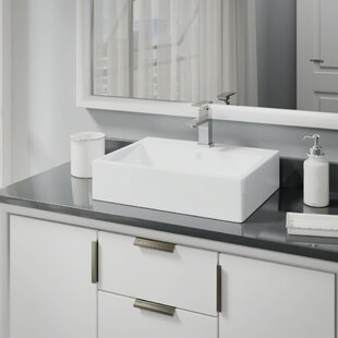Buying Vitreous China Rectangular Vessel Bathroom Sink with Faucet and Overflow By René By Elkay