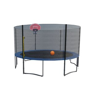 Exacme Exacme Round Trampoline with Safety Enclosure Net and Basketball Hoop