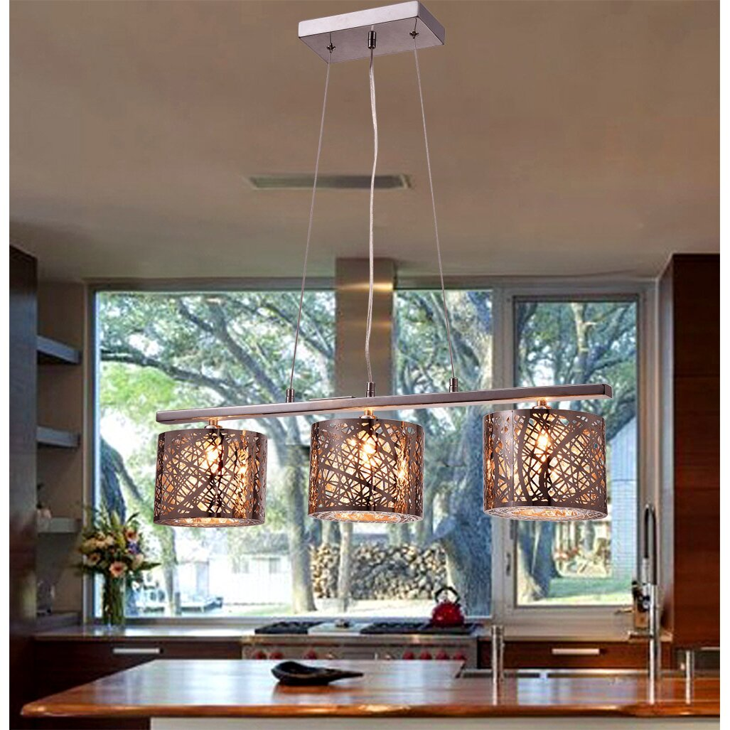 Kitchen Island Lantern Pendants: Warehouse Of Tiffany Avery 3-Light Kitchen Island Pendant & Reviews