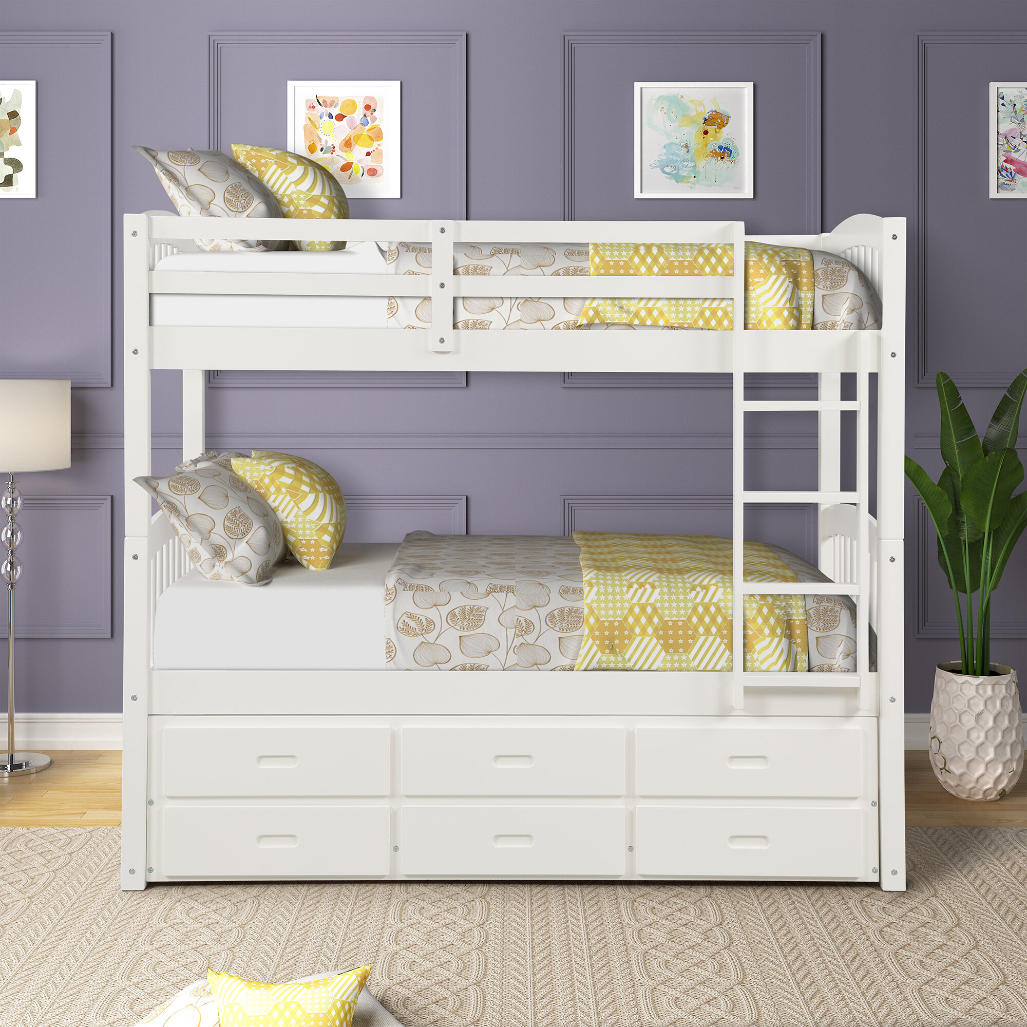 Harriet Bee Bovary Extra Long Twin Over Extra Long Twin Bunk Bed