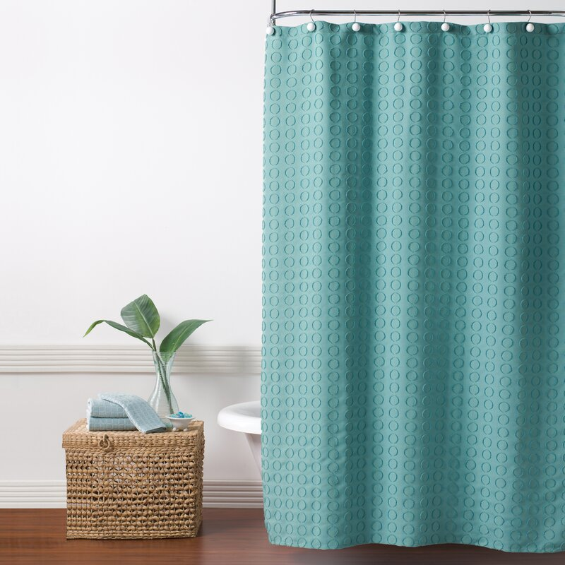 Hertel Clipped Circle Fabric Shower Curtain
